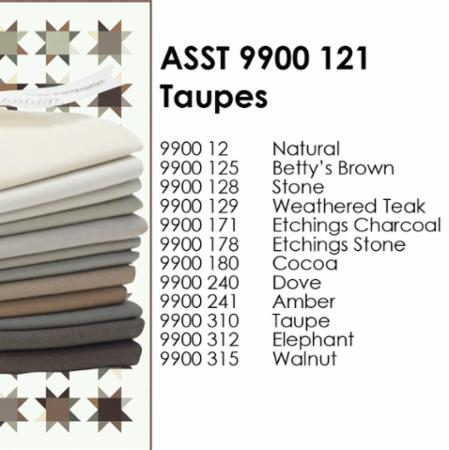 Bella Solids Classic Star Taupe Collection - yardage bundle